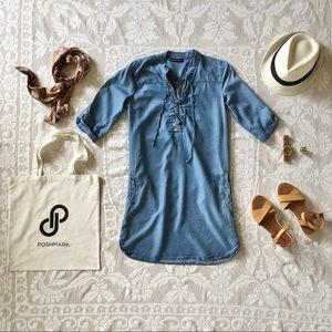 Alison Andrews Tencel blue lace up chambray short sleeve lightweight dress